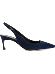 Sergio Rossi Pointed Toe Slingback Pumps Blue