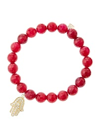 Sydney Evan 8Mm Faceted Red Agate Beaded Bracelet With 14K Yellow Gold Diamond Medium Hamsa Charm Made To Order