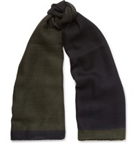 Berluti Herringbone Cashmere And Silk Blend Scarf Green