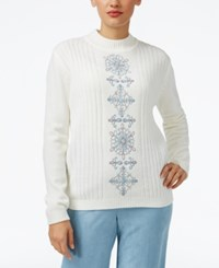 Alfred Dunner Petite Northern Lights Embroidered Sweater Ivory