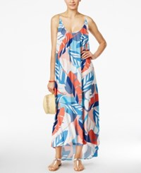 Vince Camuto Printed Racerback Maxi Cover Up Women's Swimsuit White Multi