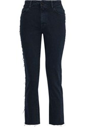 Iro Woman Act Frayed High Rise Slim Leg Jeans Dark Denim