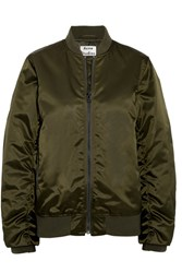 Acne Studios Leia Ruched Satin Bomber Jacket Army Green
