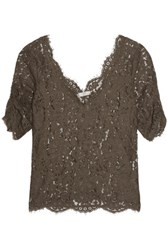 Joie Nevina Guipure Lace Top Brown