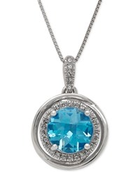 Macy's Swiss Blue Topaz 2 1 4 Ct. T.W. And Diamond 1 8 Ct. T.W. Pendant Necklace In 14K White Gold