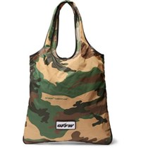 Off White Leather Trimmed Camouflage Print Canvas Tote Bag Green