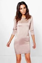 Boohoo Long Sleeved Bodycon Dress Champagne