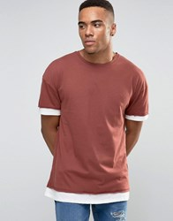 New Look T Shirt With Layers In Rust Rust Orange