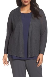 Eileen Fisher Plus Size Women's Organic Linen Open Front Cardigan Graphite