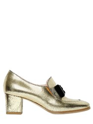Vivetta 55Mm Metallic Crackled Leather Loafers