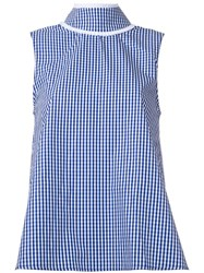 Jourden High Neck Checked Tank Blue