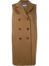 Alberto Biani Sleeveless Double Breasted Coat Brown