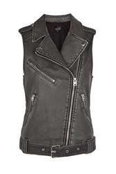 Topshop Sleeveless Faux Leather Biker Jacket Black