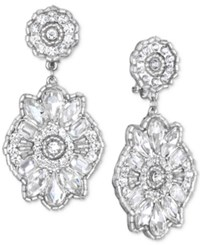Jewel Badgley Mischka Crystal Cluster Drop Earrings Silver
