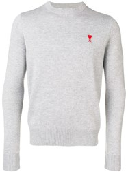 Ami Alexandre Mattiussi Crew Neck Sweater With Patch Grey