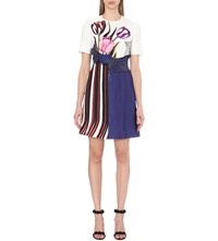 Mary Katrantzou Digital Print Silk And Cotton Blend Dress Tulip White