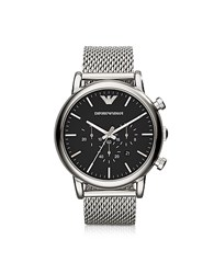 Emporio Armani Black Dial And Stainless Steel Men's Chronograph Watch
