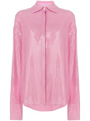 Msgm Oversized Sequinned Shirt Pink And Purple