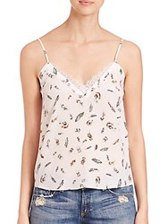 The Kooples Feather Print Silk Camisole Ecru