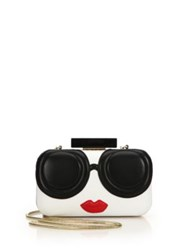 Alice Olivia Stace Face Large Leather Clutch White Multi