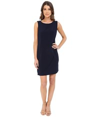 Jessica Simpson Sleeveless Ity Dress With Front Drape Navy