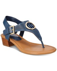 Tommy Hilfiger Kandes Block Heel Thong Sandals Women's Shoes Navy