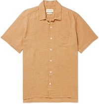 Oliver Spencer Checked Cotton And Linen Blend Shirt Yellow