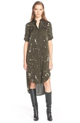 Women's Foundrae Splatter Print Stretch Silk Shirtdress Dark Shell Pink