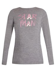 Bella Freud Star Man Wool Blend Sweater Grey