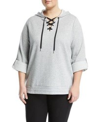 Michael Michael Kors Lace Up Front Roll Sleeve Hoodie Pearl