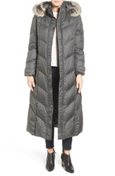 London Fog Women's Faux Fur Trim Quilted Maxi Coat Gun Metal