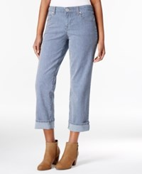 Style And Co Petite Railroad Stripe Curvy Fit Cuffed Capri Jeans Only At Macy's