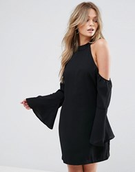 Wyldr Over It Cold Shoulder Shift Mini Dress Black