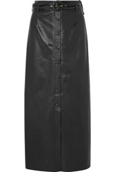 Nanushka Ayona Belted Faux Leather Maxi Skirt Black