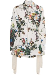 Adam By Adam Lippes Floral Print Anorak Jacket Cotton Nude Neutrals