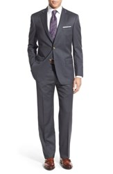 Hart Schaffner Marx Big And Tall New York Classic Fit Stripe Wool Suit Grey