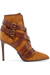 Balmain Jakie Suede And Leather Ankle Boots Camel