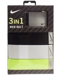 Nike Men's 3 In 1 Web Belt Pack Black White Volt