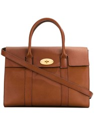 Mulberry Fold Over Closure Tote Brown