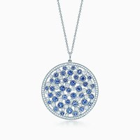Tiffany And Co. Cobblestone Medallion Pendant In Platinum With Sapphires Diamonds. Platinum 950 Sapphire Montana