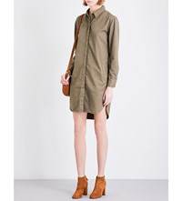 Closed Relaxed Cotton And Linen Blend Shirt Dress Olivesheen