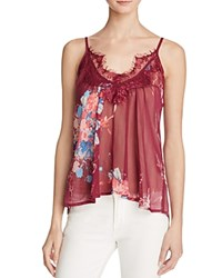 Band Of Gypsies Lace Trimmed Floral Print Tank Bloomingdale's Exclusive Burgundy Teal