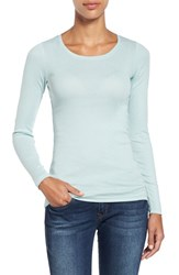 Caslonr Women's Caslon Long Sleeve Scoop Neck Cotton Tee Blue Raindrop