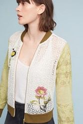 Anthropologie Floral Eyelet Bomber Green Motif