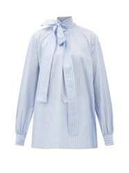 Rochas Pussy Bow Striped Cotton Blouse Blue White