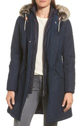 Barbour 'S Filey Waterproof Hooded Jacket With Faux Fur Trim Dark Navy