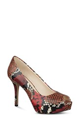 Women's Nine West 'Qt Pie' Platform Peep Toe Pump Red Multi