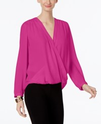 Inc International Concepts Wrap Blouse Only At Macy's Magenta Flame