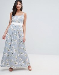 Yumi Uttam Boutique Maxi Dress In Floral Print With Contrast Band Green
