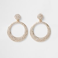River Island Gold Tone Diamante Paved Circle Drop Earrings